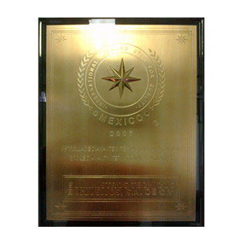 "RECONOCIMIENTO OTORGADO POR: ""THE NATIONAL MARKETING INSTITUTE"" PROUDLY AWARDS WITH THIS DISTINCTION INTERNATIONAL DIAMOND STAR FOR QUALITY MEXICO. JULIO 21 2007"